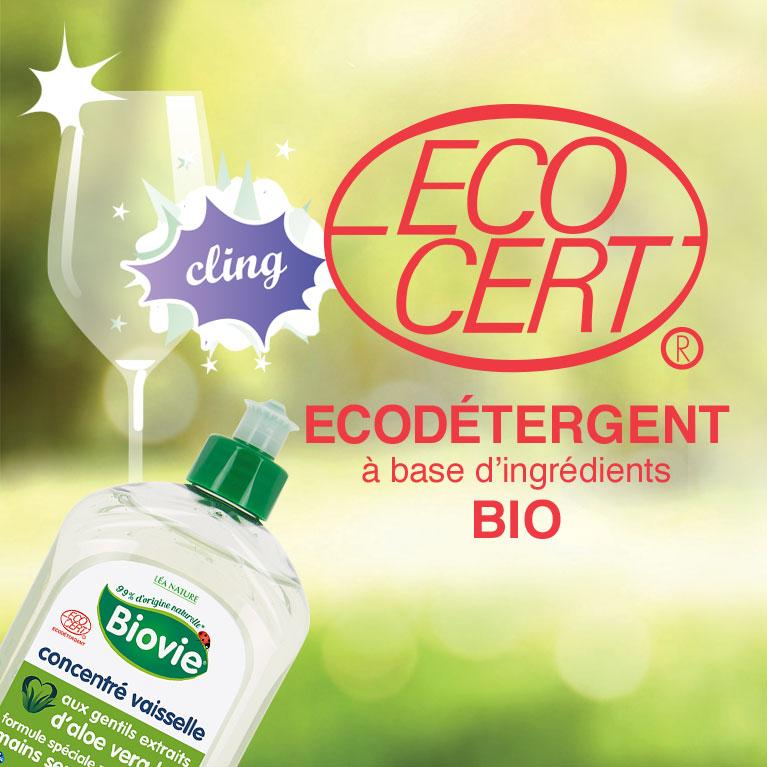 Les vaisselles Biovie, certifiés Ecocert ecodétergent à base d'ingrédients biologiques