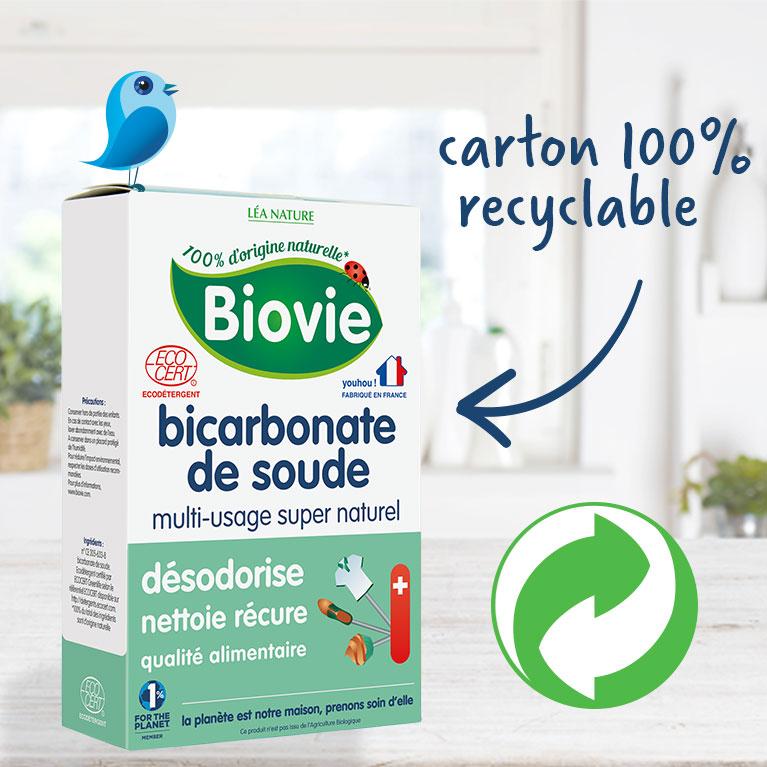 Emballage recyclé en carton d'un produit de la marque Biovie